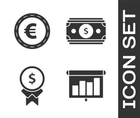 Set Presentation financial board with graph, schedule, chart, diagram, infographic, pie graph, Coin money with euro symbol, Reward for good work and Stacks paper money cash icon. Vector Иллюстрация