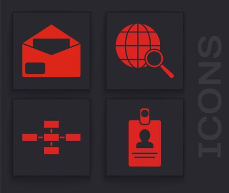 Set American Football ball and stopwatch, Envelope, Magnifying glass with globe and Business hierarchy organogram chart infographics icon. Vector Ilustração