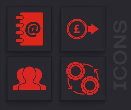 Set Gear and arrows as workflow process concept, Address book, Coin money with pound sterling symbol and Users group icon. Vector Ilustração