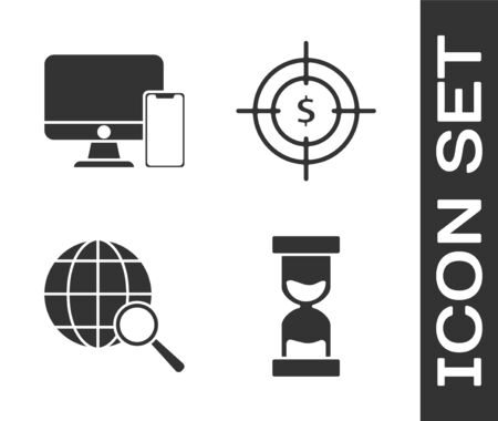 Set Old hourglass with flowing sand, American football helmet and shield, Magnifying glass with globe and Target with dollar symbol icon. Vector