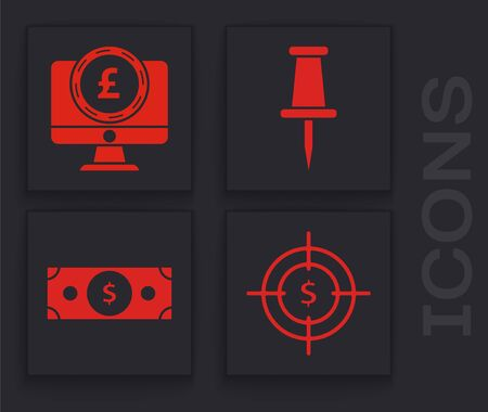 Set Target with dollar symbol, Computer monitor with pound sterling symbol, Push pin and Stacks paper money cash icon. Vector Ilustração