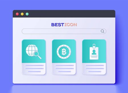Set Cryptocurrency coin Bitcoin, Magnifying glass with globe and American Football ball and stopwatch icon. Vector