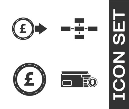 Set Bright stadium lights, Coin money with pound sterling symbol, Coin money with pound sterling symbol and Business hierarchy organogram chart infographics icon. Vector Vetores