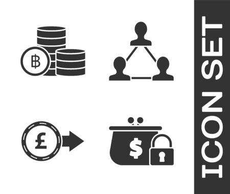 Set Closed wallet with lock, Cryptocurrency coin Bitcoin, Coin money with pound sterling symbol and Project team base icon. Vector