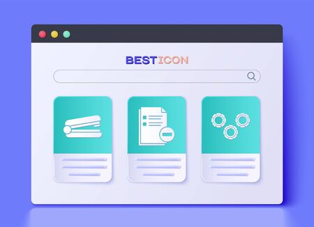 Set Document with minus, Office stapler and Gear icon. Vector