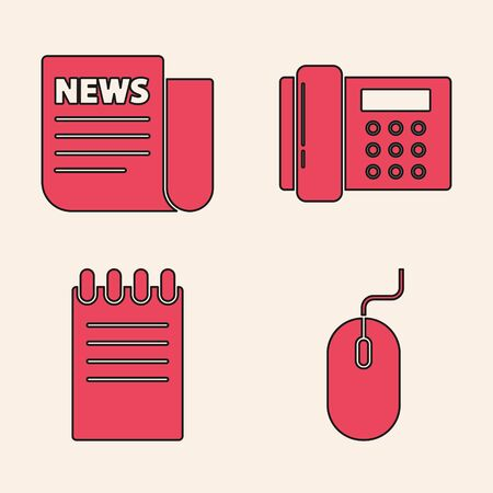 Set Computer mouse, News, Telephone and Notebook icon. Vector