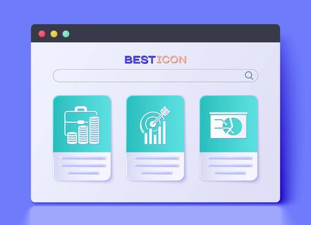 Set Target with graph chart, Briefcase and coin and Board with graph chart icon. Vector