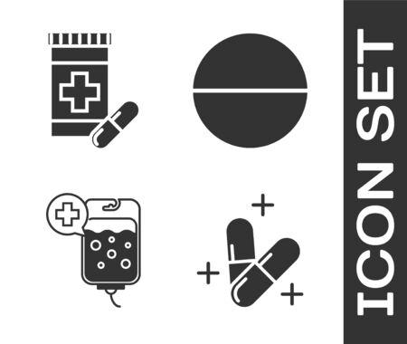 Set Medicine pill or tablet, Medicine bottle and pills, IV bag and Medicine pill or tablet icon. Vector Vector Illustration