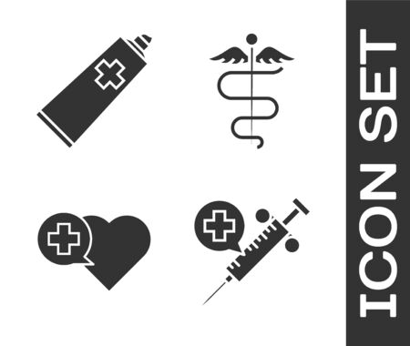 Set Medical syringe with needle, Ointment cream tube medicine, Heart with a cross and Caduceus snake medical symbol icon. Vector