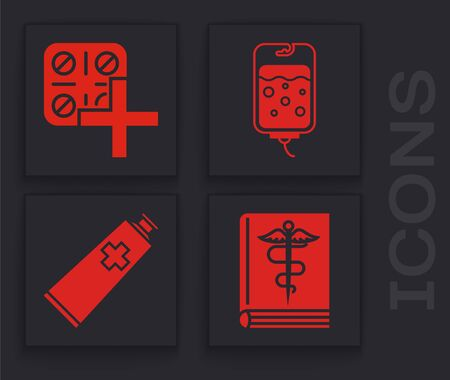 Set Medical book, Pills in blister pack, IV bag and Ointment cream tube medicine icon. Vector Illustration