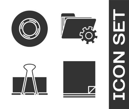 Set File document, Scotch, Binder clip and Folder settings with gears icon. Vector