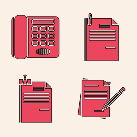 Set Blank notebook and pencil with eraser, Telephone, File document and paper clip and File document and binder clip icon. Vector