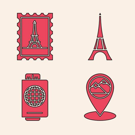 Set Map pointer with mountain, Postal stamp and Eiffel tower, Eiffel tower and Passport with ticket icon. Vector Illustration