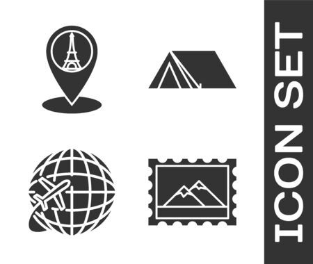Set Postal stamp and Mountains, Map pointer with Eiffel tower, Globe with flying plane and Tourist tent icon. Vector