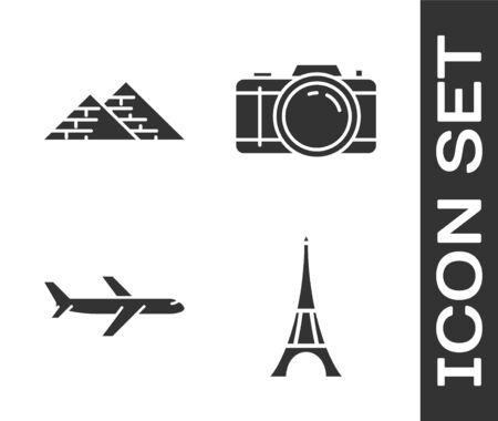 Set Eiffel tower, Egypt pyramids, Plane and Photo camera icon. Vector