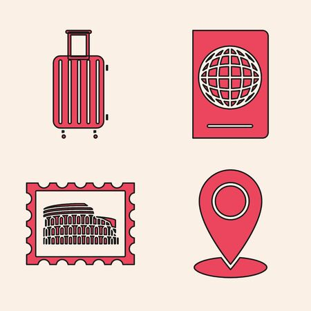Set Map pin, Suitcase for travel, Passport with biometric data and Postal stamp and Coliseum icon. Vector