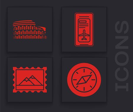 Set Compass, Coliseum in Rome, Italy, Smartphone with electronic boarding pass airline ticket and Postal stamp and Mountains icon. Vector