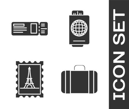 Set Suitcase for travel, Travel ticket, Postal stamp and Eiffel tower and Passport with ticket icon. Vector