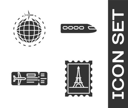 Set Postal stamp and Eiffel tower, Globe with flying plane, Airline ticket and Train icon. Vector