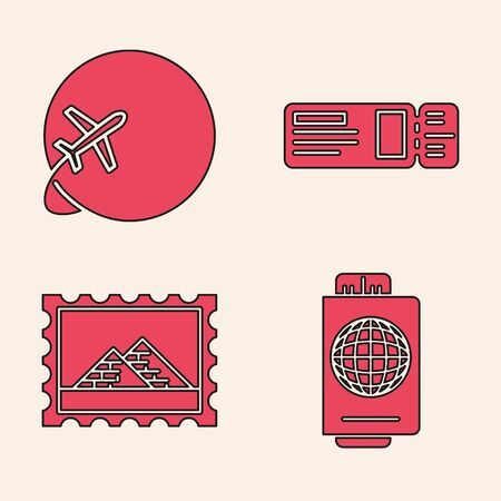 Set Passport with ticket, Globe with flying plane, Travel ticket and Postal stamp and Egypt pyramids icon. Vector