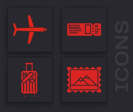 Set Postal stamp and Mountains, Plane, Travel ticket and Suitcase for travel and stickers icon. Vector