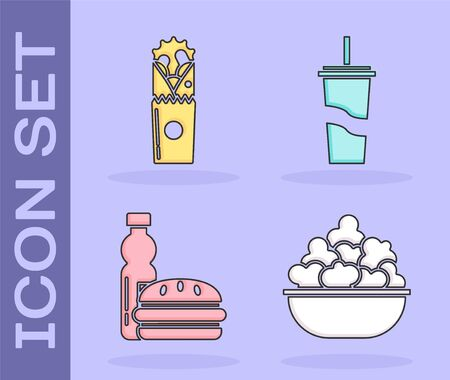 Set Popcorn in bowl, Doner kebab, Bottle of water and burger and Paper glass with drinking straw and water icon. Vector