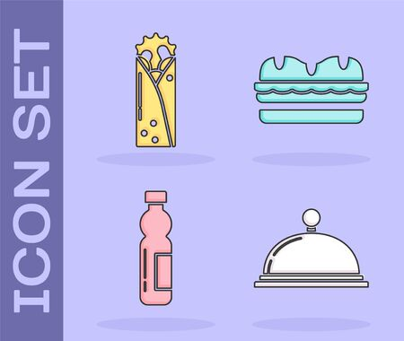 Set Covered with a tray of food, Doner kebab, Bottle of water and Sandwich icon. Vector Illustration