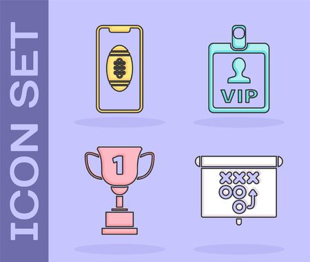 Set Planning strategy concept, Smartphone with american football ball on the screen, Award cup and VIP badge icon. Vector