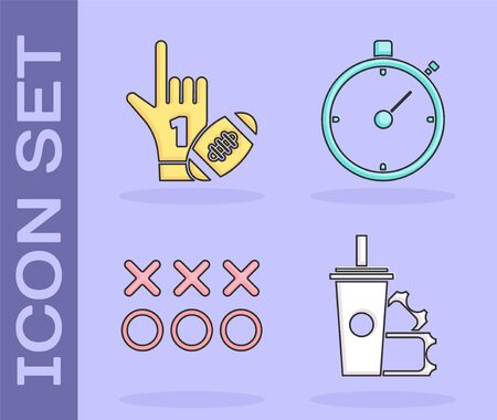Set American Football ticket and paper glass soda with drinking straw, Number 1 one fan hand glove with finger raised and american football ball, Planning strategy concept and Stopwatch icon. Vector