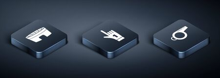 Set Isometric Football stadium, Whistle and Number 1 one fan hand glove with finger raised icon. Vector