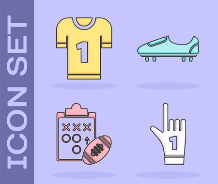 Set Number 1 one fan hand glove with finger raised, American football jersey, Planning strategy concept and Soccer or football shoes with spikes icon. Vector