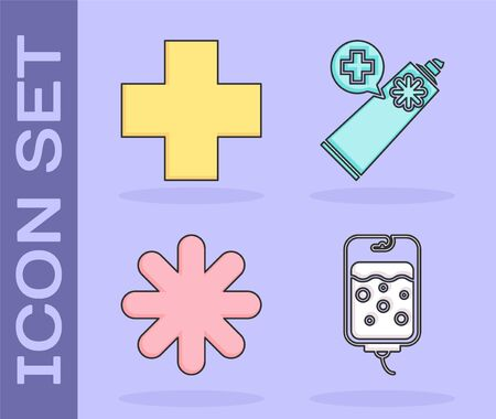 Set IV bag, Cross hospital medical, Cross hospital medical and Ointment cream tube medicine icon. Vector