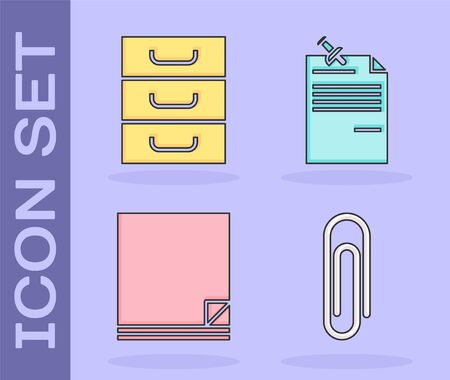 Set Paper clip, Drawer with documents, File document and Note paper with pinned pushbutton icon. Vector