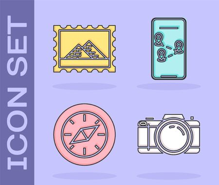 Set Photo camera, Postal stamp and Egypt pyramids, Compass and Infographic of city map navigation icon. Vector