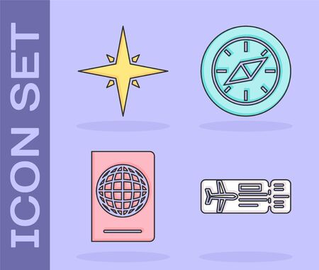 Set Airline ticket, Wind rose, Passport with biometric data and Compass icon. Vector