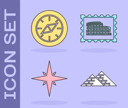 Set Egypt pyramids, Compass, Wind rose and Postal stamp and Coliseum icon. Vector