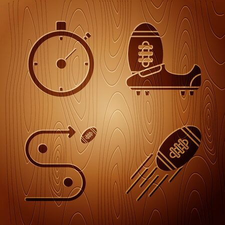 Set American Football ball, Stopwatch, Planning strategy concept and Soccer or football shoes with spikes on wooden background. Vector