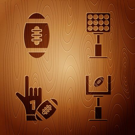 Set American football goal post and football ball, Number 1 one fan hand glove with finger raised and american football ball and Bright stadium lights on wooden background. Vector Çizim