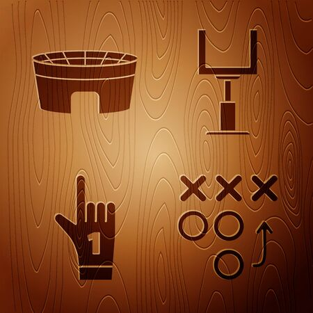 Set Planning strategy concept, Football stadium, Number 1 one fan hand glove with finger raised and American football goal post on wooden background. Vector