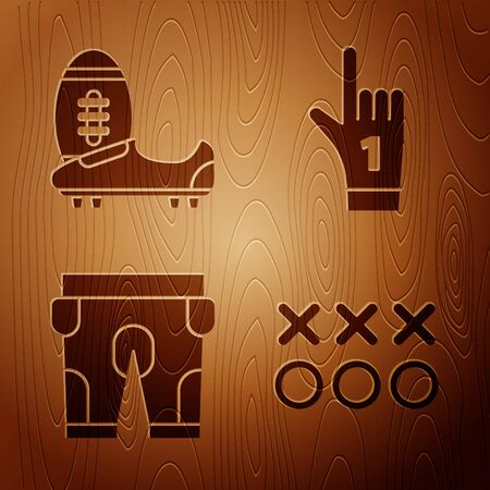 Set Planning strategy concept, Soccer or football shoes with spikes, American football shorts and Number 1 one fan hand glove with finger raised on wooden background. Vector