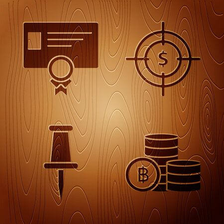 Set Cryptocurrency coin Bitcoin, Certificate template, Push pin and Target with dollar symbol on wooden background. Vector