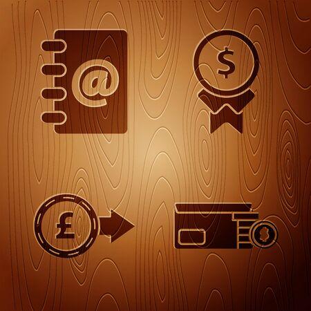 Set Bright stadium lights, Address book, Coin money with pound sterling symbol and Reward for good work on wooden background. Vector Foto de archivo - 137212524
