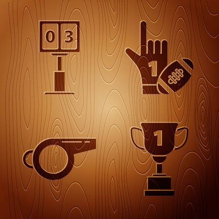 Set Award cup, Sport football mechanical scoreboard and result display, Whistle and Number 1 one fan hand glove with finger raised and american football ball on wooden background. Vector Çizim