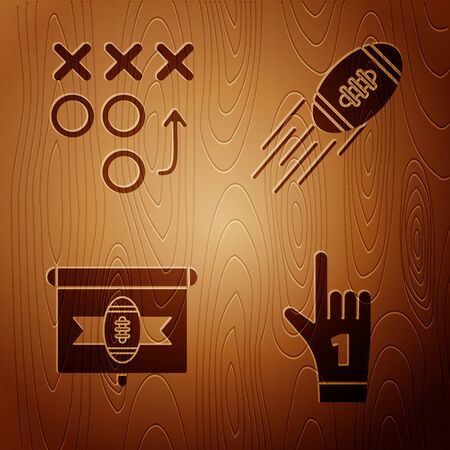 Set Number 1 one fan hand glove with finger raised, Planning strategy concept, American football on tv program and American Football ball on wooden background. Vector