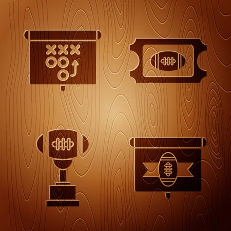Set American football on tv program, Planning strategy concept, Award cup and American football ball and American Football ticket on wooden background. Vector