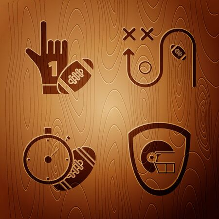 Set American football helmet and shield, Number 1 one fan hand glove with finger raised and american football ball, stopwatch and Planning strategy concept on wooden background. Vector