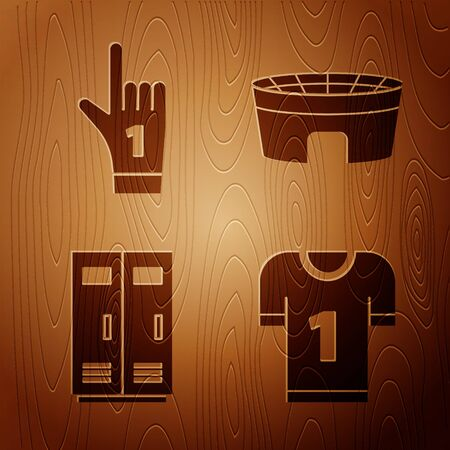 Set American football jersey, Number 1 one fan hand glove with finger raised, Locker or changing room for football, basketball team or workers and Football stadium on wooden background. Vector Çizim