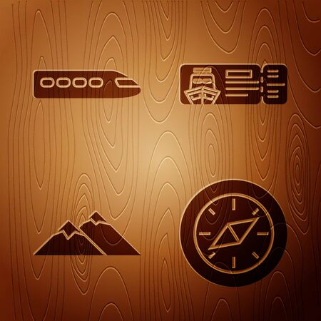 Set Compass, Train, Mountains and Cruise ticket for traveling by ship on wooden background. Vector