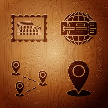 Set Map pin, Postal stamp and Coliseum, Route location and Airline ticket on wooden background. Vector