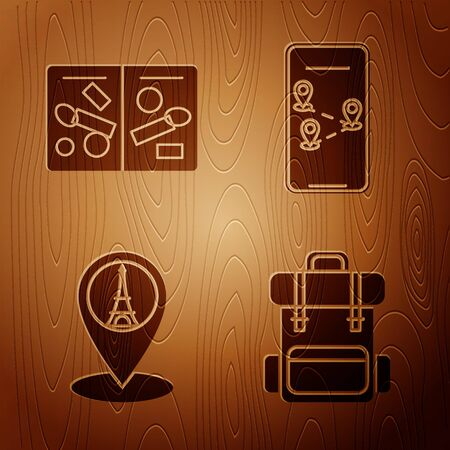 Set Hiking backpack, Passport pages with visa stamps, Map pointer with Eiffel tower and Infographic of city map navigation on wooden background. Vector